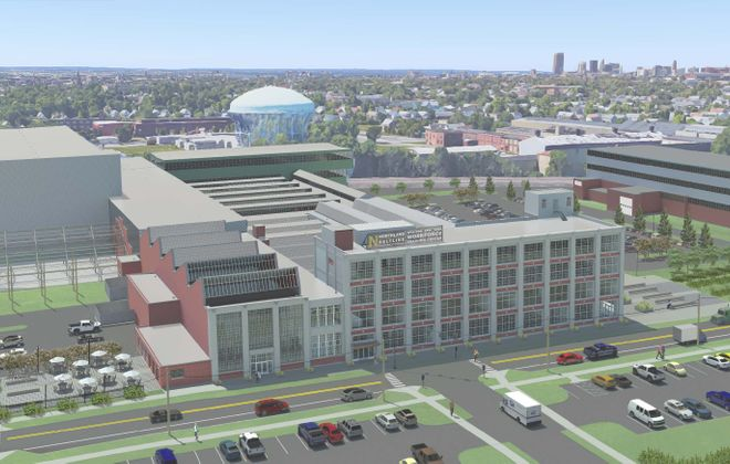 An aerial rendering shows the developing Northland Corridor Workforce Training Center building at 683 Northland Ave.