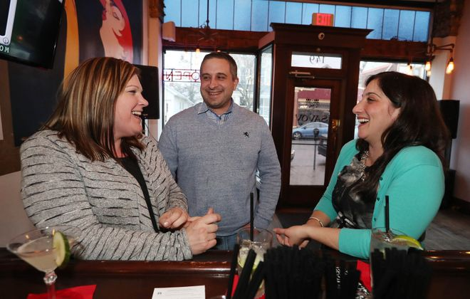 From left, hanging out in Savoy, are Michelle Painter of North Tonawanda, Todd Beaudry of Lewiston and Trisha DiGiore of Buffalo.  (Sharon Cantillon/Buffalo News)