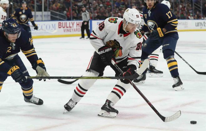 """It's very humbling,"" Patrick Kane said after the latest defeat dropped the Blackhawks to 6-15-1 in their last 22 games. ""Hopefully we can look back on this and somehow say it's a good thing."" (James P. McCoy/Buffalo News)"