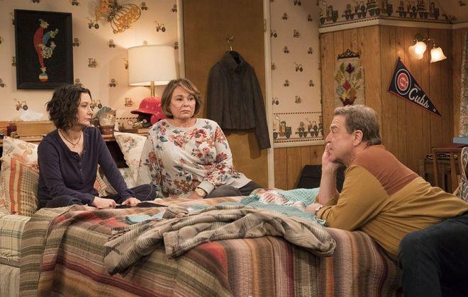 "Sara Gilbert, left, Roseanne Barr and John Goodman all return in ""Roseanne."" (ABC/Adam Rose)"