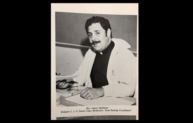 A photo of the Rev. James A. Spielman from the 1981 yearbook of Archbishop Walsh High School in Olean, where Spielman taught religion classes.
