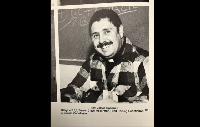 A photo of the Rev. James A. Spielman from the 1982 yearbook of Archbishop Walsh High School in Olean, where Spielman taught religion classes. Spielman was accused of sexually abusing a teenage boy in a lawsuit that the Catholic Diocese of Buffalo paid $1.5 million to quietly settle in 2016.