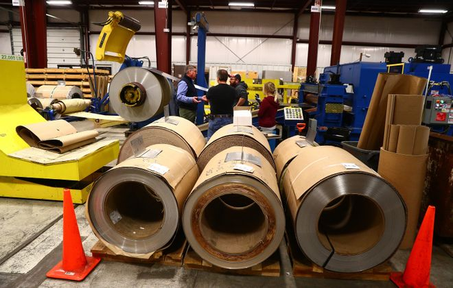 Steel coils at Rigidized Metals, 658 Ohio St., in Buffalo. (John Hickey/Buffalo News)