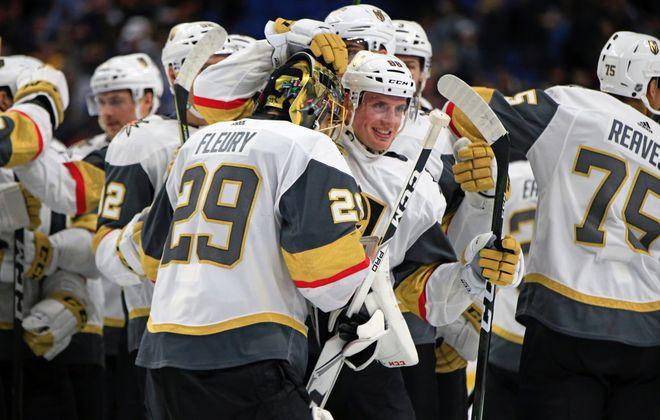 Shootout hero Erik Haula greets goalie Marc-Andre Fleury after the Golden Knights' victory (Harry Scull Jr./Buffalo News).
