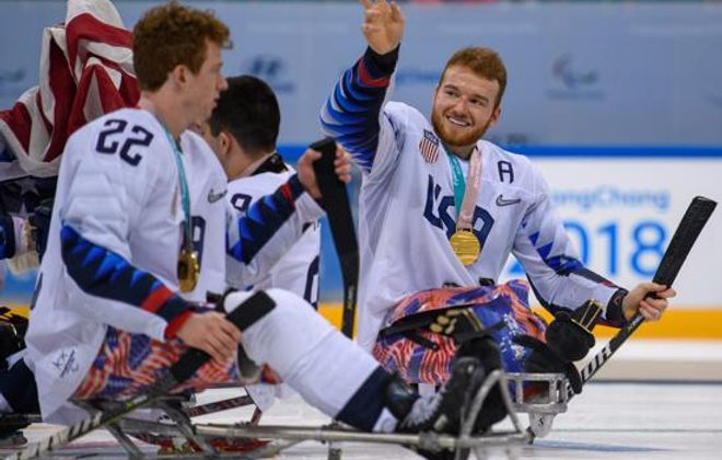 Declan Farmer celebrates after winning Paralympic gold. (Handout image supplied by OIS/IOC)