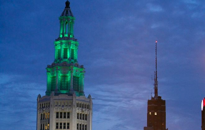 The Electric Tower will glow green during a rally Sunday evening to mark National CP Awareness Day. (Photo by,Harry Scull Jr/The Buffalo News)