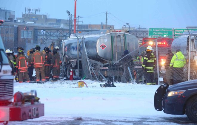 A fuel tanker crashed  at the Buffalo Niagara International Airport, spilling fuel Friday morning. (John Hickey/Buffalo News)
