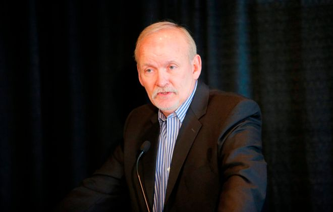 Lindy Ruff speaks during a press conference on Feb. 22, 2013, after he was dismissed as head coach of the Buffalo Sabres. (Derek Gee/News file photo)