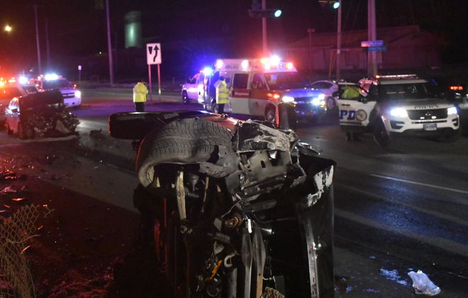The scene of Thursday night's collision on Niagara Falls Boulevard at the I-190 South ramp. (Larry Kensinger/Special To The News)