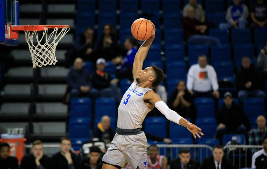 University at Buffalo guard Jayvon Graves dunks against Northern Illinois during first half action at Alumni Arena on Tuesday, Jan. 16, 2018. (Harry Scull, Jr./Buffalo News)