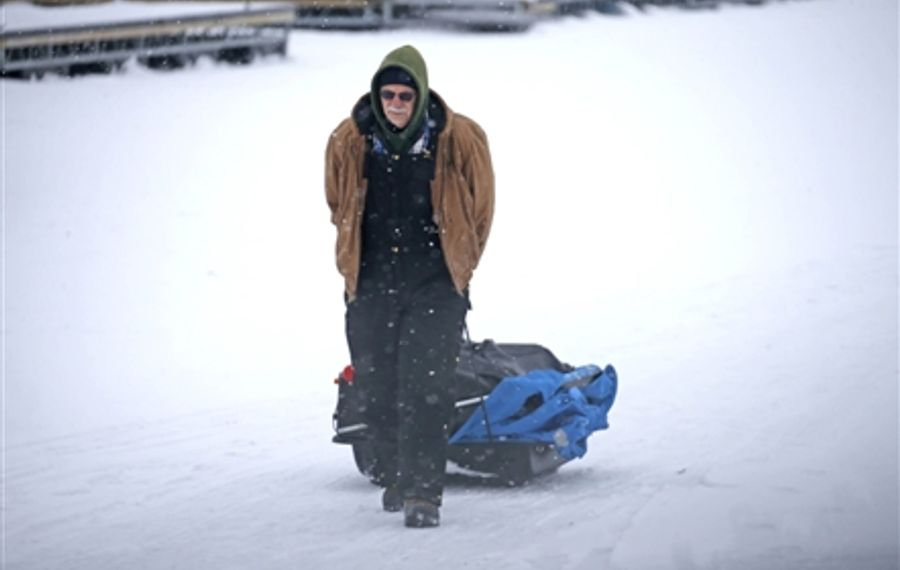 Ice Fishing at Buffalo's Safe Boat Harbor