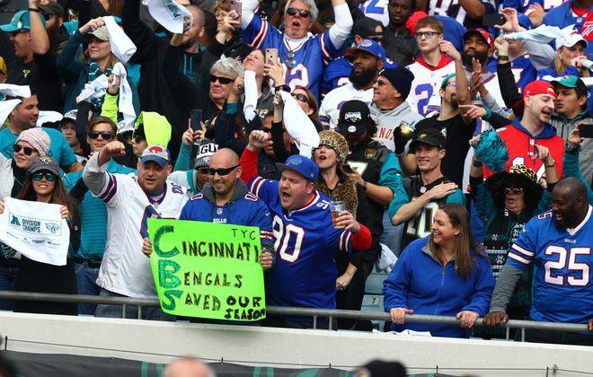 Buffalo Bills fans filled the stadium at EverBank Field in Jacksonville, Fla., on Sunday, Jan. 7, 2018. (James P. McCoy/Buffalo News)