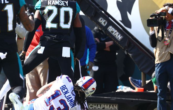 Jaguars cornerback Jalen Ramsey will  provide a tough test for Kelvin Benjamin (13) and the rest of the Buffalo Bills' offense. (James P. McCoy/News file photo)