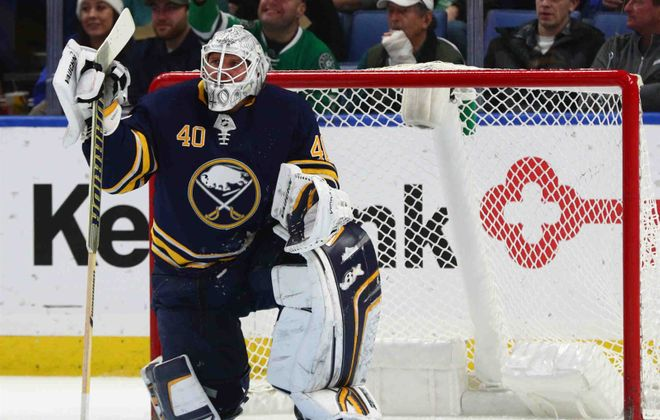 It had been a rough few weeks for Sabres goalie Robin Lehner until he shut out Edmonton on Tuesday. (James P. McCoy/Buffalo News)