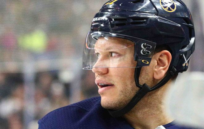 """""""I know what I'm capable of,"""" Kyle Okposo says. """"It's getting back to an elite level. It's starting to come."""" (James P. McCoy/Buffalo News)"""