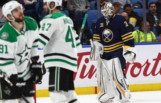 Sabres goaltender Chad Johnson entered the season with a career goals-against average of 2.44. It's 3.85 this season. (James P. McCoy/Buffalo News)