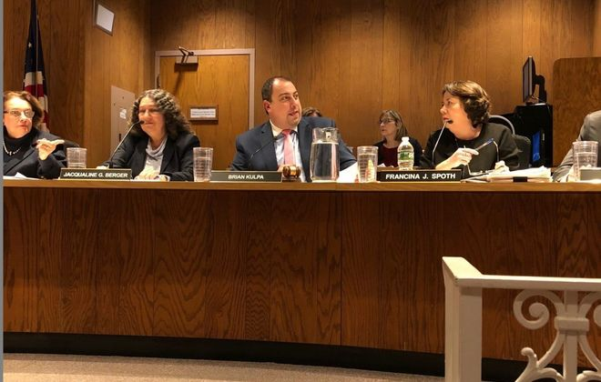 The Amherst Town Board, shown here in January, voted Monday to approve a 2019 budget that exceeds the state tax cap. (Stephen T. Watson/Buffalo News file photo)