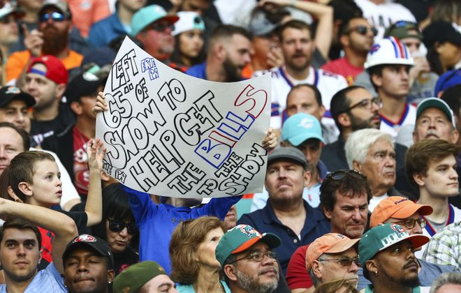 Bills fans cheer on their team Sunday in Hard Rock Stadium in Miami Gardens, Fla. (James P. McCoy / Buffalo News)