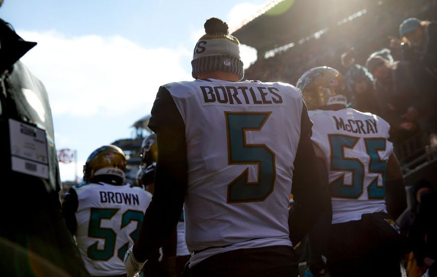 Blake Bortles #5 and the Jacksonville Jaguars take the field against the Pittsburgh Steelers for the AFC Divisional Playoff game at Heinz Field on January 14, 2018 in Pittsburgh, Pennsylvania.  (Photo by Kevin C. Cox/Getty Images)