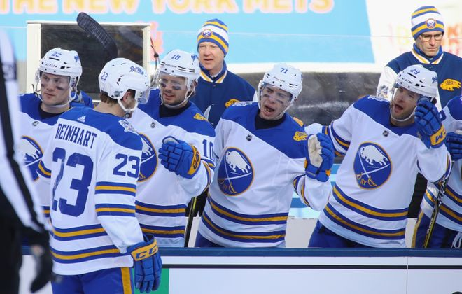 The Sabres will wear their Winter Classic jerseys at three home games this year. (Getty Images)