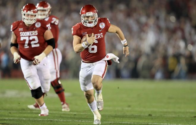 Oklahoma quarterback Baker Mayfield won the Heisman Trophy in 2017. (Getty Images)