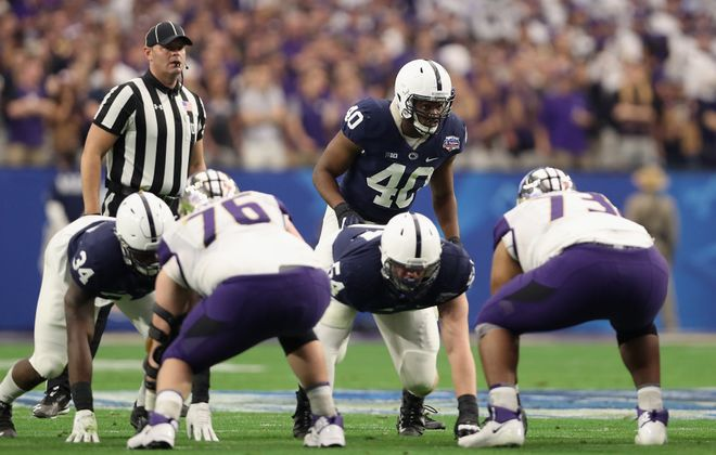 Penn State linebacker Jason Cabinda (40) is a potential Day Two prospect in the NFL Draft. (Getty Images)
