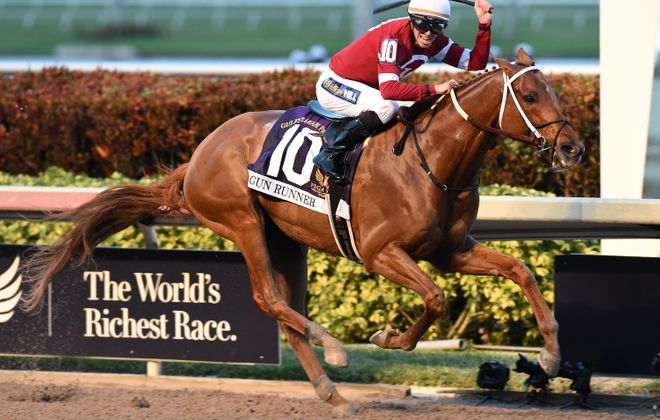 Florent Geroux celebrates as Gun Runner crosses the wire in the Pegasus World Cup. Photo Credit: Coglianese Photos/Gulfstream Park
