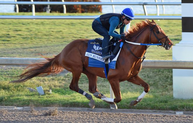 Gun Runner breezes in preparation for Saturday's Pegasus World Cup Invitational. Photo Credit: Lauren King/Gulfstream