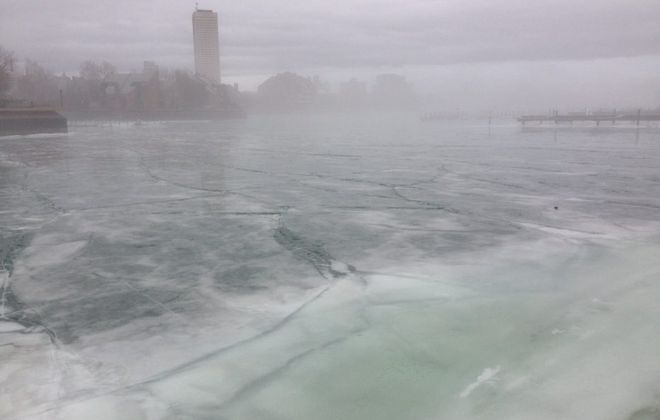 A dense fog overtook the Erie Basin Marina about 11 a.m. as an Arctic front arrived at the surface, undercutting unseasonably warm air that brought a rare 60-degree January morning to Buffalo. (T.J. Pignataro/Buffalo News)