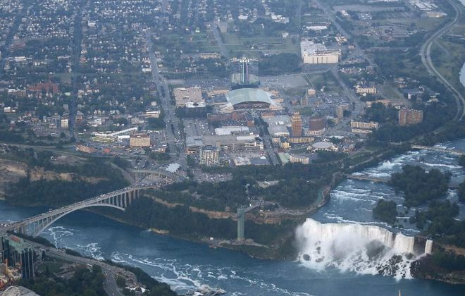 New York State bought seven buildings and 8 acres of land at left, northeast of the Rainbow Bridge, which it wants redeveloped in downtown Niagara Falls. (News file photo)