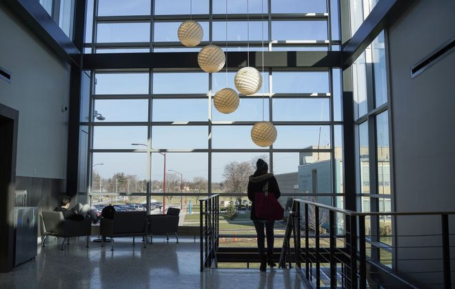 A lounge area in the new STEM Building at Erie Community College's  North Campus on Friday, Jan. 26, 2018. (Derek Gee/Buffalo News)