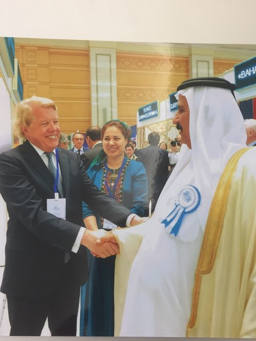 Vincent M. Gaughan Jr. greets Hassan Abdullah Al Adhab, Ambassador of the United Arab Emirates in Turkmenistan, at an event in Turkmenistan.