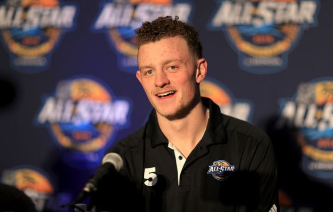 Jack Eichel was all smiles Saturday during All-Star Media Day in Tampa (Getty Images).
