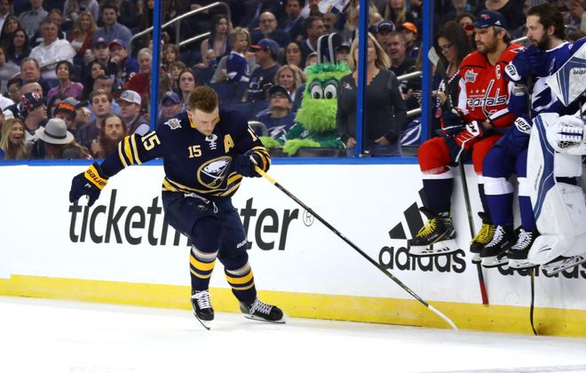 Jack Eichel goes through the Fastest Skater competition as Washington's Alex Ovechkin and Tampa Bay's Nikita Kucherov look on Saturday night (Getty Images).
