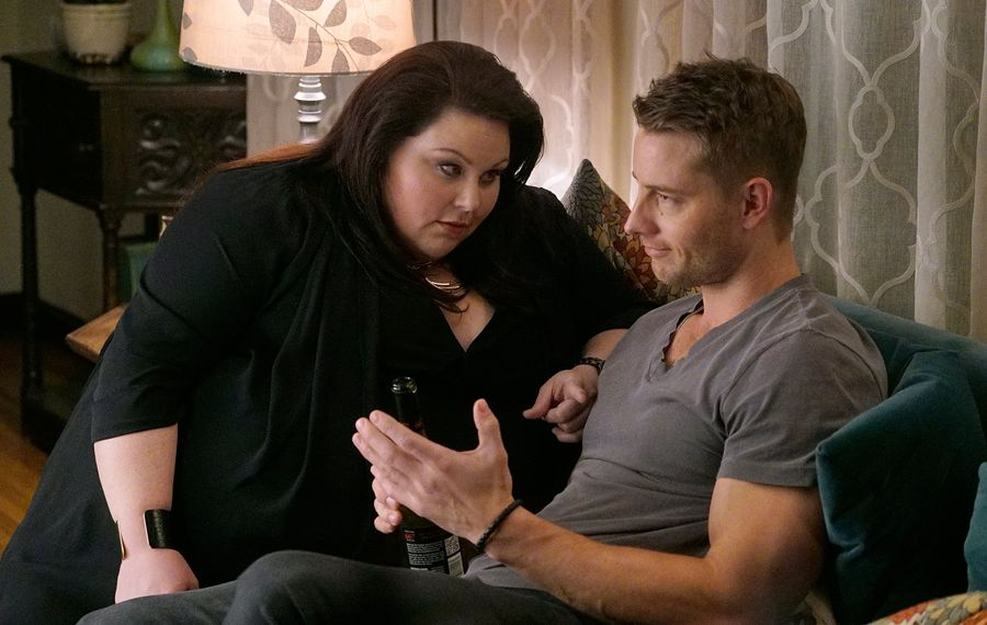 "Chrissy Metz as Kate, left, and Justin Hartley as Kevin in a scene from ""This Is Us."" (Paul Drinkwater/NBC)"