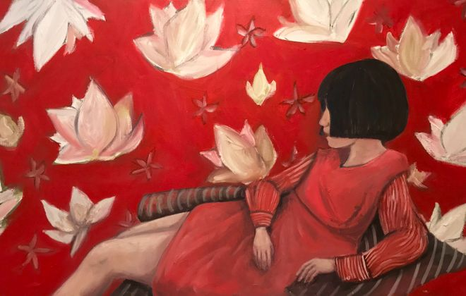 """Lotus Girl,"" a 2017 painting by Alixandra Martin, is on view through Feb. 25 in the Kenan Center."