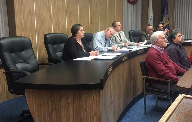 The Lackawanna City Council shown during a meeting in January 2018. William Leonard is seated fourth to the right. (Buffalo News file photo)