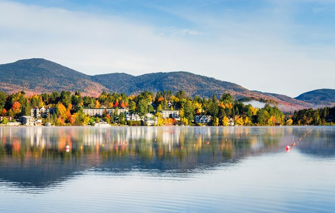 Mirror Lake provides a beautiful four-season backdrop to Lake Placid; in winter it freezes over for ice skating.