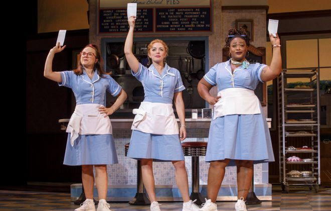 """""""Waitress,"""" a musical based on Adrienne Shelly's 2007 film, features Lenne Klingaman, left, along with Desi Oakley and Charity Angel Dawson."""
