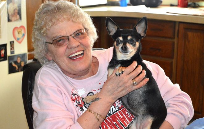 """Mary Miller, of West Seneca, quit smoking in early November. """"Now, I can get out and go for a walk around the neighborhood with my little doggie,"""" she says.  (Anthony Astran/Special to the News)"""
