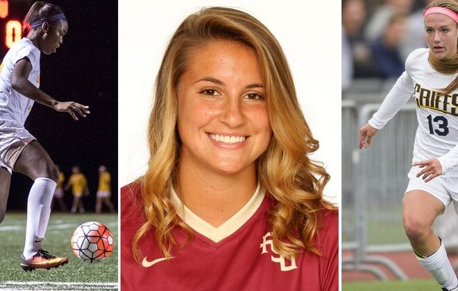 Tahelah Noel of Valparaiso, Maddie Pezzino of Florida State and Emily Czechowski of Canisius are among the Prep Talk alumni to play in college this past year. (Photos courtesy of their respective schools)