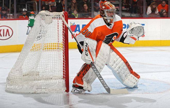 Flyers goalie and former Sabre Michal Neuvirth made 30 saves against Buffalo on Sunday. (Getty Images)