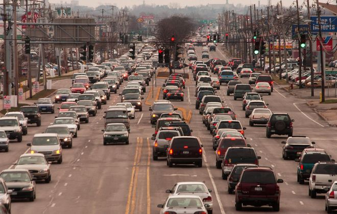 Traffic on Niagara Falls Boulevard on a Saturday in December, seen looking south from the 290 overpass. (Buffalo News file photo)