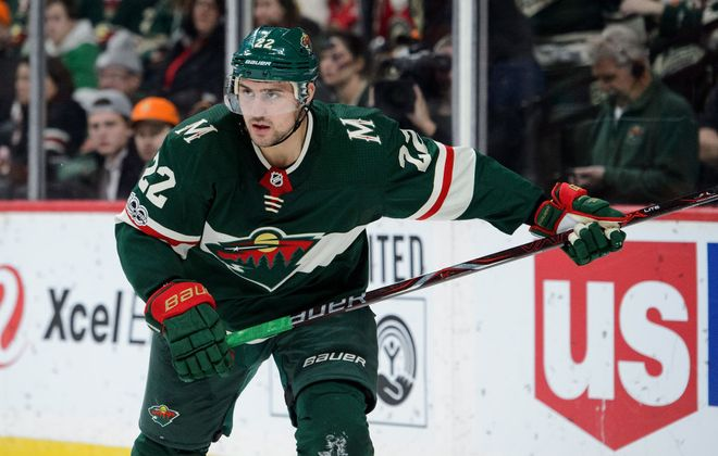 Minnesota's Nino Niederreiter had his second career hat trick Thursday night -- and both are against the Sabres (Getty Images).