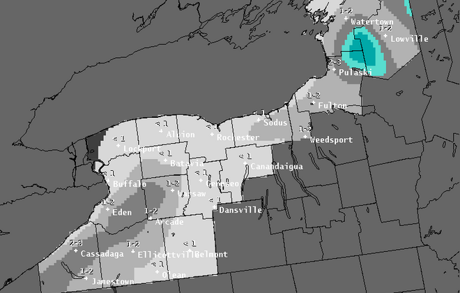 Lake-effect snow is possible today across Western New York, but it will be minimal for most areas, forecasters said. (National Weather Service)