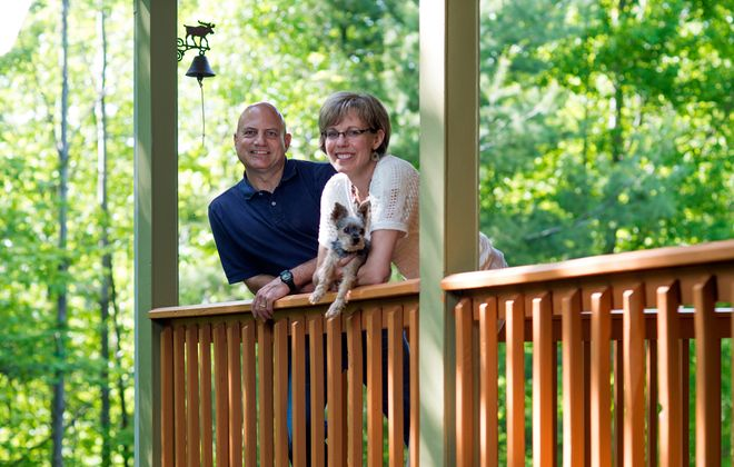 Gary and Cynthia Shore's Boston Hills vacation home is around 30 miles from their primary home in Kenmore — but feels a world away, they say.  (Michael P. Majewski)