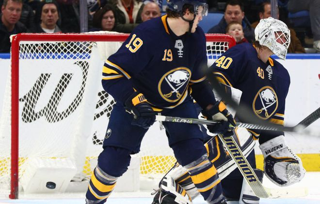 Buffalo Sabres goaltender Robin Lehner (40) lets in a goal in the second period at Key Bank Center in Buffalo on Saturday, Jan. 20, 2018.  (James P. McCoy / Buffalo News)