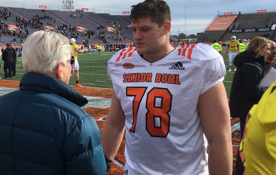 Army's Brett Toth after the North practice at the Senior Bowl Wednesday. (Buffalo News)