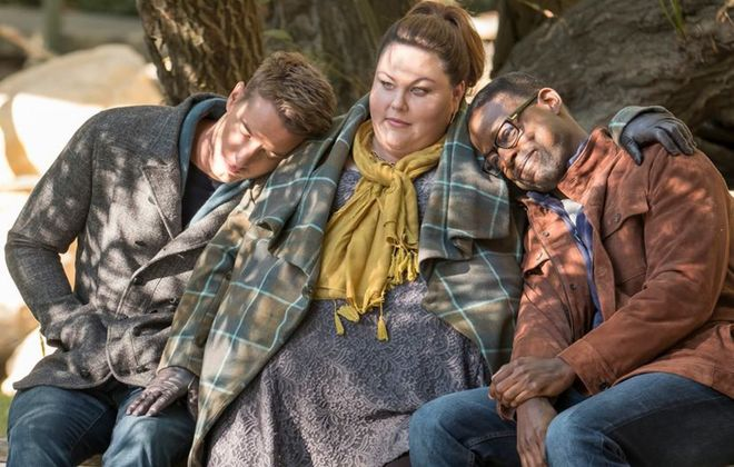 """Justin Hartley as Kevin, Chrissy Metz as Kate and Sterling K. Brown as Randall in """"This Is Us."""" (NBC)"""