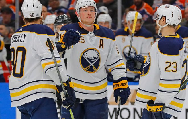 The celebrations were plentiful for Ryan O'Reilly (90), Jack Eichel, Sam Reinhart (23) and the Sabres out west. (USA Today Sports)